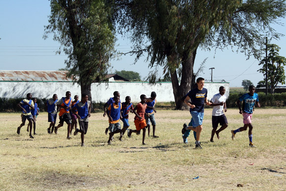 Tim Krupa trains with the Junior Leopard Football Club in rural Senanga, Western Province of Zambia.