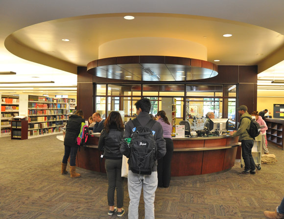 A view of the UBC library's new single service desk.