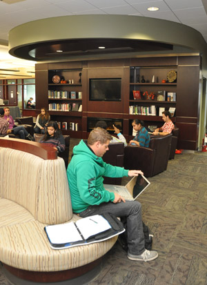 One of the new study areas within the Library Learning Commons provides a comfortable setting for students.