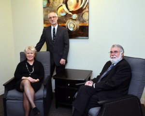 Associate Professor of Nursing Carole Robinson, Head of Psychology Department Jan Cioe and Director of School of Social Work Edward Taylor in the new Interprofessional Clinic at UBC's Okanagan campus.