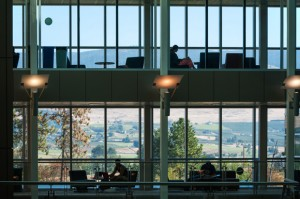 Sweeping vistas of the Okanagan Valley greet students studying on the bridges connecting classroom and office towers of the Engineering, Education and Management building at UBC's Okanagan campus. Martin Dee Photograph