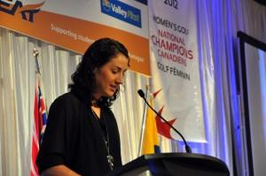 Roslyn Huber addresses UBC's Athletics Scholarship Breakfast.