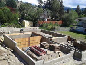 The concrete foundation and walls of this house under construction used recycled concrete aggregate devised by UBC's School of Engineering.