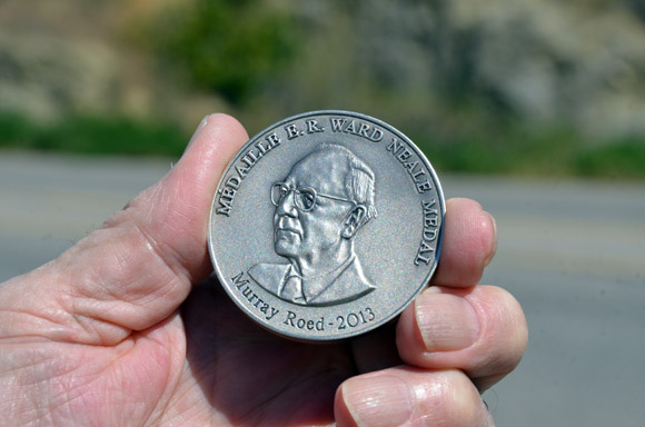 Murray Roed holds the E.R. Ward Neale medal