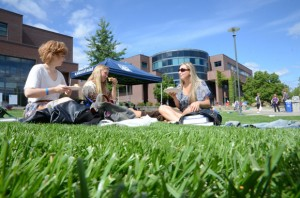 Students enjoy a break on the campus courtyard at UBC