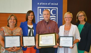 UBC's Okanagan campus Staff of Excellence Awards were presented by Deputy Vice Chancellor and Principal Deborah Buszard (right) to, from left: Jody Ainley, Jamie Snow, Bud Mortenson, Susan Belton.