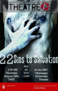 22 Sins to Salvation playing at University Theatre, Thurs., Aug. 29