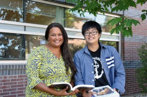 Leah Sanford, manager of International Programs and Services at UBC's Okanagan campus, and English Foundation Program (EFP) student Nobuyoshi Torigoe work together to plan another successful academic year for Torigoe.