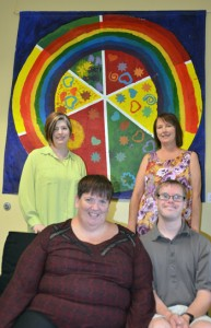 Leanne and Dale Froese, seated, are self-advocates for the developmentally disabled with the Centre for Inclusion and Citizenship. Sara Lige, standing left, is special projects officer and Rachelle Hole, standing right, is co-director of the centre.