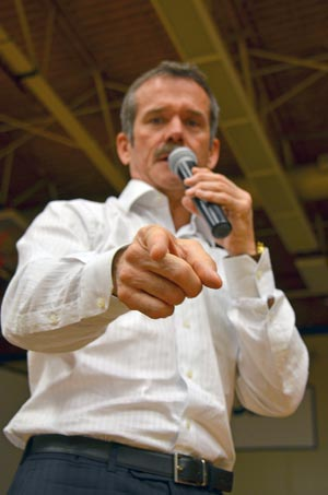 Col. Chris Hadfield makes a point during his talk to students at École KLO Middle School.
