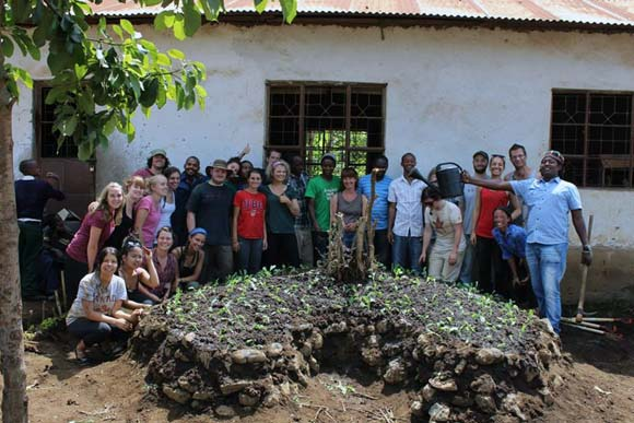 UBC students helped build keyhole gardens while on a six-week group study to Nguruma Village, just outside of Arusha, Tanzania.
