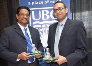 Kasun Hewage and Shahria Alam, researchers at UBC Okanagan's School of Engineering, were presented with the Moldovan Award for their 'green' thinking initiatives.
