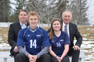 Capri Insurance's Tim Miller, left, Heat volleyball player Jim Bell (2012 Capri Scholarship winner), Heat soccer player Devon Fleming-Frame, and Capri Insurance senior partner Robin Durrant, celebrate Capri's continued support for UBC Heat athletes.