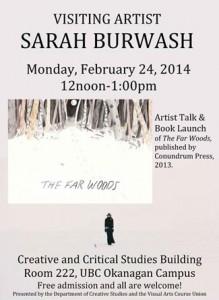 Sarah Burwash returns to UBC as Visiting Artist