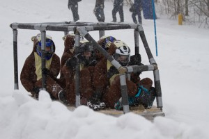 UBC Okanagan's Concrete Jungle team slides down the hill at the Great Northern Concrete Toboggan Race. The Engineers came home with an overall second-place finish.