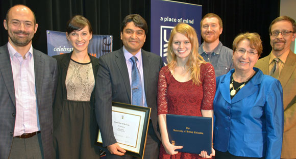 UBC Okanagan honours its top researchers. From left, Prof. Gord Binsted, acting vice principal, research; 3-Minute Thesis winner Jennifer Forsythe; Prof. Rehan Sadiq, Researcher of the Year; Megan Udala, Undergraduate Student Researcher of the Year; Matthew Lemay, Graduate Student Researcher of the Year; Prof. Cynthia Mathieson, provost; Prof. Thomas Heilke, Associate Dean, College of Graduate Studies
