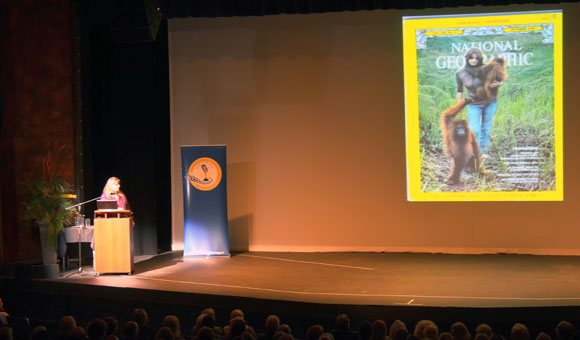 Primatologist Birut? Galdikas with a 1971 National Geographic cover where she was featured in a story about her work with orangutans in Borneo. Galdikas gave a community talk at the Kelowna Community Theatre Monday night as part of UBC's Distinguished Speaker Series.