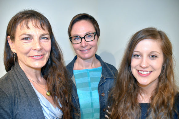 Okanagan Short Story Contest winner Shelley Wood (Leave-taking) centre; is flanked by second-place winner Glenna Turnbull (things you find on the side of the road) left; and Brittni Mackenzie-Dale (Dead Man's Bluff) right.