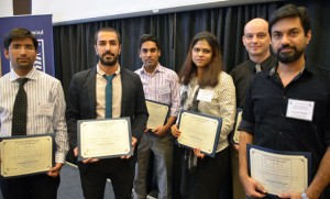 Winners at the first-ever engineering graduate student symposium are: Yash Sharma, Hamid Reza Zareie Rajani, Kader Siddiquee, Nilufar Islam, Tim Abbott, and Husnain Haider.