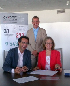 International Development Director of KEDGE Business School, Prof. Jacques-Olivier Pesme, signed an agreement for future collaboration and cooperation with UBC Deputy Vice-Chancellor and Principal Deborah Buszard, witnessed by Dean of the Faculty of Management, Roger Sugden.