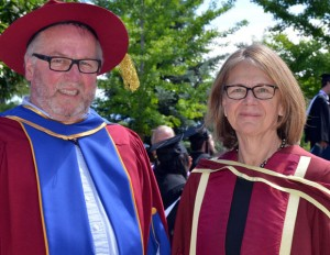 Okanagan College Dean James Barmby, with UBC Okanagan campus Deputy Vice-Chancellor and Principal Deborah Buszard