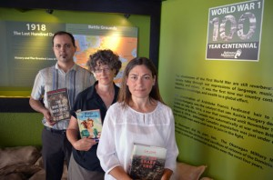 Anderson Araujo, Nancy Holmes and Lisa Grekul, seen here at the Okanagan Military Museum, will give presentations marking the 100th anniversary of the First World War at the Canadian War Museum during a conference from July 31 to August 2.