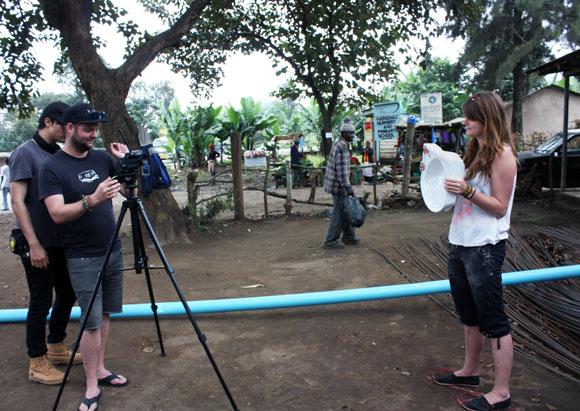 Robin Wang, Geoff Luehr (operating the camera) and Nicole Esligar film a scene