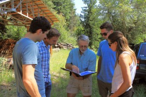Using an aerial map of the Hulcar Valley north of Armstrong, BC, Steele Springs Water District chairman Brian Upper, centre, explains to UBC researchers Ted Wannop, John Janmaat, Quinn Rochon and Maryssa Soroke where the springs are located.