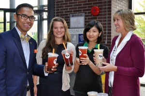 Alden Habacon, UBC's Director of Intercultural Understanding Strategy Development, enjoys a bubble tea with Jenica Frisque, from UBC Okanagan's Equity and Inclusion Office, second-year arts student Tiffany Huang, and UBC Okanagan's Lisa Levell.