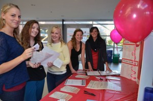 Nursing students Kelsey Rollerman (left) Danielle McDivitt, Chloe Pedersen, Katie Brown, and Kelsey Bowles are encouraging fellow students to take part in the campus-wide blood drive, November 3 to 6. It is recommended that first time donors call 1-888-2-DONATE to make sure they are eligible to donate blood, book online at www.blood.ca or download the GiveBlood App.