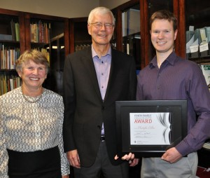 Jean and Ken Finch present Christopher Collier with the first-ever Finch Family Graduate Award at UBC.