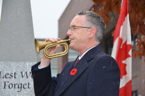 Dennis Colpitts is the ceremonial bugler for UBC's Remembrance Ceremony on Friday.
