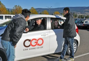 Third-year marketing students, from left, Marc Qian, Brendan Sprague, Kira McDougall, and Kevin Chan researched the car share option and came up with a marketing plan for OGO Car Share Co-op. Their project is part of the Healthy City Partnership signed between UBC Okanagan, the City of Kelowna, and the Interior Health Authority.