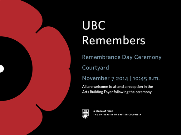 UBC Remembers 2014 graphic