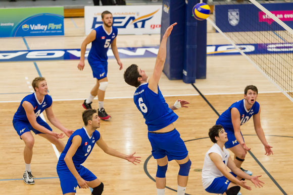 Jim Bell, left, Kristof Schlagintweit (No. 6) and Josh Harvey (No. 10) work with their teammates during a recent game at UBC Okanagan. Courtesy Greystoke Photography.