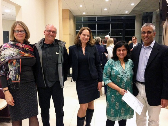 UBC Okanagan Deputy Vice Chancellor and Principal Deborah Buszard, along with Wilden graphic designer Michael Eger and director Karin Eger-Blenk, celebrate the announcement of the new Wilden award at the FCCS Art on the Line event, along with Dr. Michelle Periera, and UBC President Arvind Gupta.