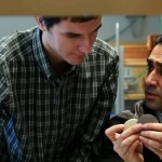 UBC Okanagan faculty Researcher of the Year Abbas Milani, right, discusses his work with student Andrew Olson.