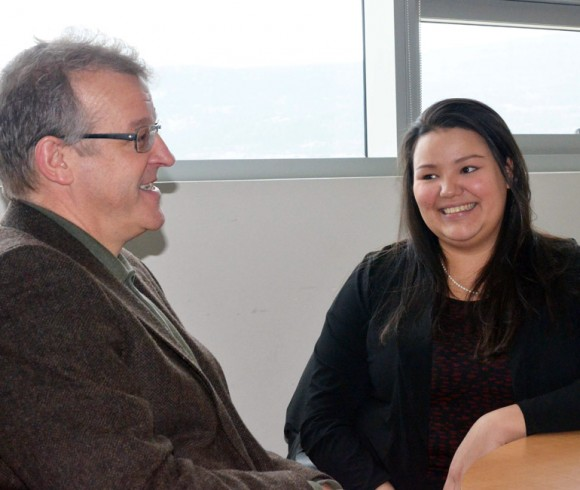 Roger Sugden, Dean of UBC Okanagan's Faculty of Management, congratulates Candice Loring on becoming a Ch'nook Scholar.
