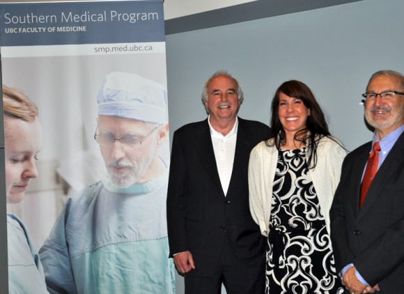 Dr. Allan Jones, Regional Associate Dean, (left), medical student Alex Bond, and Interior Health Board Chair Erwin Malzer, congratulate the first class of SMP grad students while thanking the staff at Kelowna General Hospital for their guidance and leadership as the program has evolved.