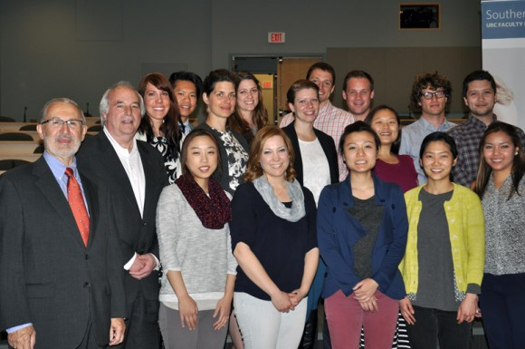 Interior Health Board Chair Erwin Malzer, left, met with Dr. Allan Jones and the first class of graduating students from UBC's Southern Medical Program, at a special event at Kelowna General Hospital Monday.