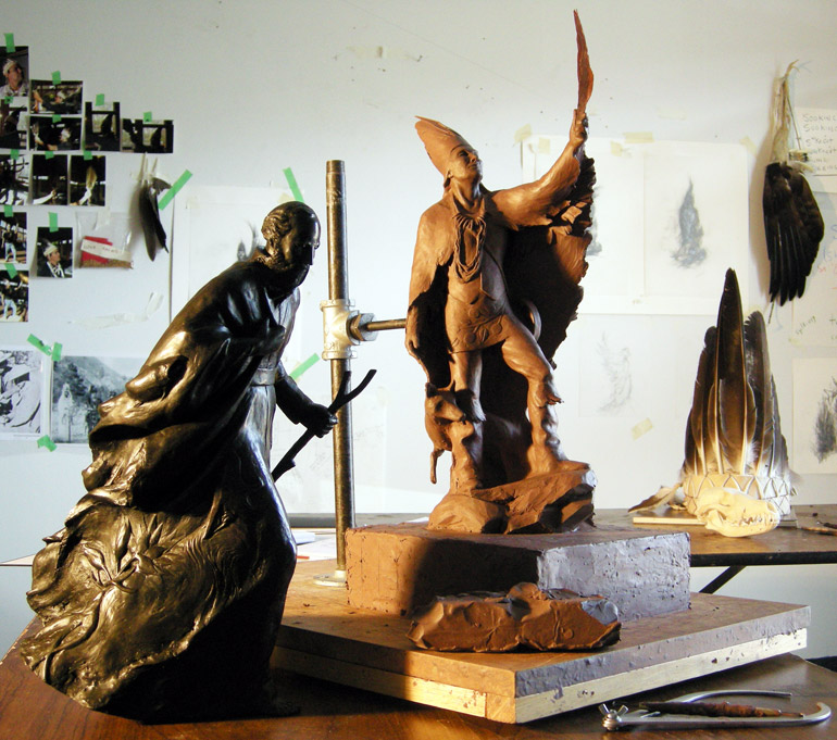 Artist Crystal Przybille's renderings of statues representing Father Pandosy and Chief Sʷknc̓u will be part of the discussion Friday, May 8 at the AlterKnowledge Discussion Series. Photo credit: Crystal Przybille.