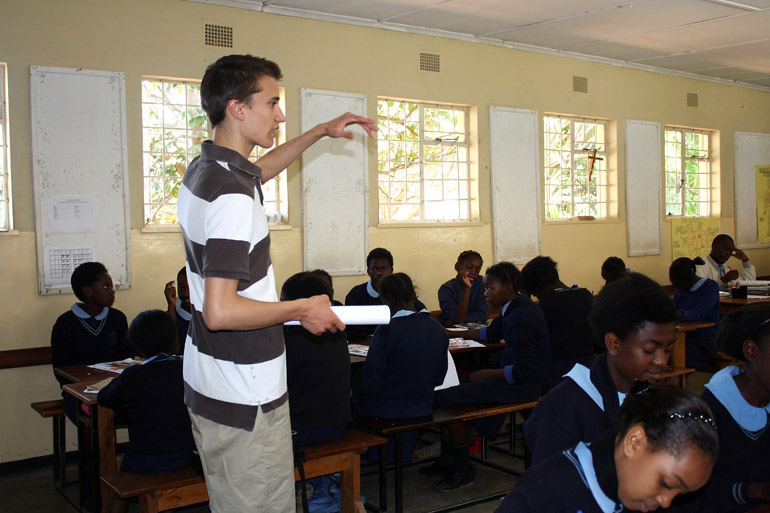Tim Krupa conducts his research survey at one of the best schools in the country, an urban Catholic girls' school in Zambia's capital city, Lusaka. Photo by Alexa Geddes