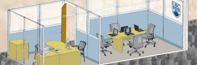 A concept drawing of what the UBC Innovation Library may look like inside the Kelowna Branch of the Okanagan Regional Library. The space should be open and ready for public use by early September.