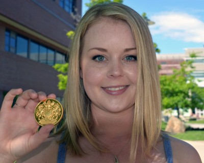 Caitlyn Makins, PhD graduate in biochemistry and molecular biology, is UBC's Okanagan campus Governor General's Gold Medal award as top graduate student.