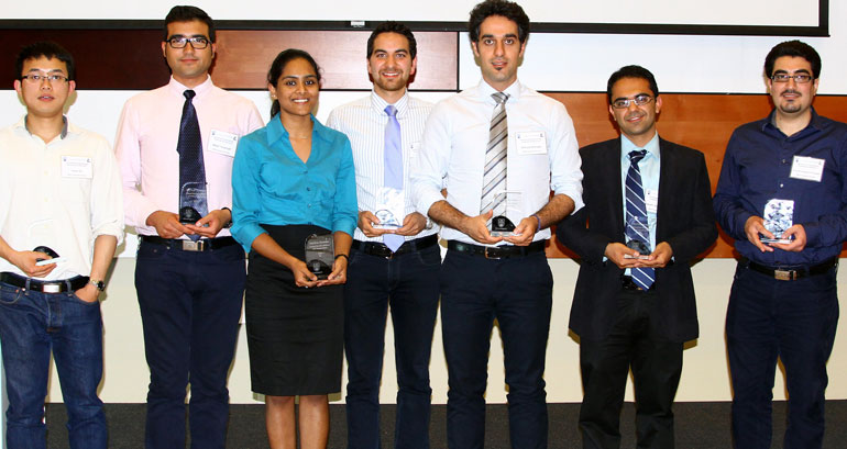 Winners at the 2015 School of Engineering's graduate symposium are: Xuan Du, Majid Targhagh, Nivedita Mahesh, Armin Rashidi Mehrabadi, Behzad Mohajer, Sepehr Zarifmansour, and Ehssan Hosseini Koupaie.