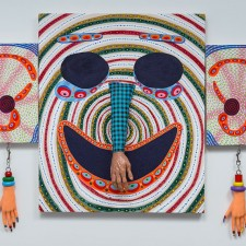 Patrick Lundeen's The Elephant is an acrylic painting with plastic hands and beads on canvas. More of his work will be showcased during his residency program with UBC Okanagan's Faculty of Creative and Critical Studies.