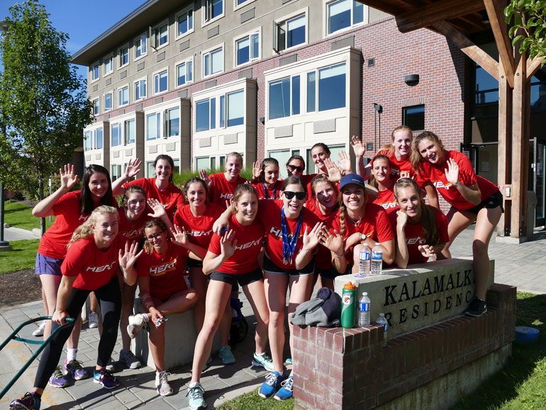 "Members of the UBC Okanagan Heat women's volleyball team were among dozens of Heat student-athletes on hand Sunday to help 1,200 fellow students move in to residences on campus during the annual ""move-in"" day."