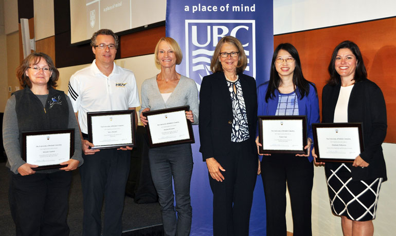 Michele Cannon, Steve Manuel, Deanna Simmons, Vania Chan, and Stephanie McKeown are congratulated by UBC Deputy Vice-Chancellor and Principal of the Okanagan campus Deborah Buszard (third from right) for their exemplary work ethics at UBC.