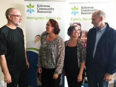 A community symposium on immigration in Canada takes place at Okanagan College and UBC Okanagan Friday, September 25, and Saturday, September 26. Mike Evans, left, Katelin Mitchell, Robyn Bunn, and Keith Mitchell are a few of the community partners who have helped organize the symposium.