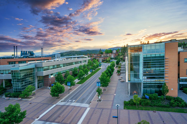 """The plan is for University Way to become a more pedestrian-friendly """"main street"""" at UBC Okanagan."""
